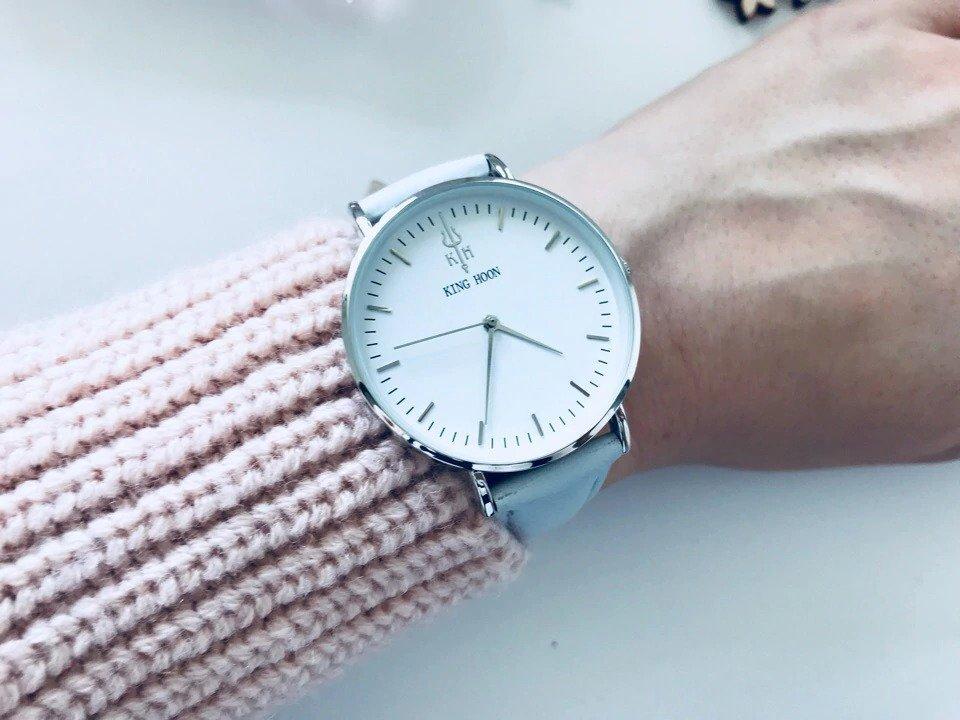 Zegarek King Hoon Star szary srebrny biały 17
