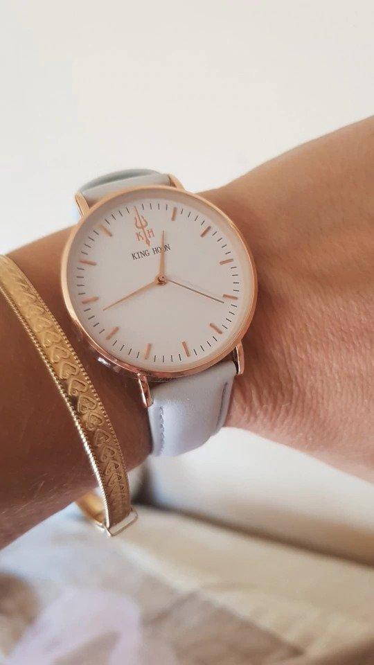 Zegarek King Hoon Star szary złoty biały 15