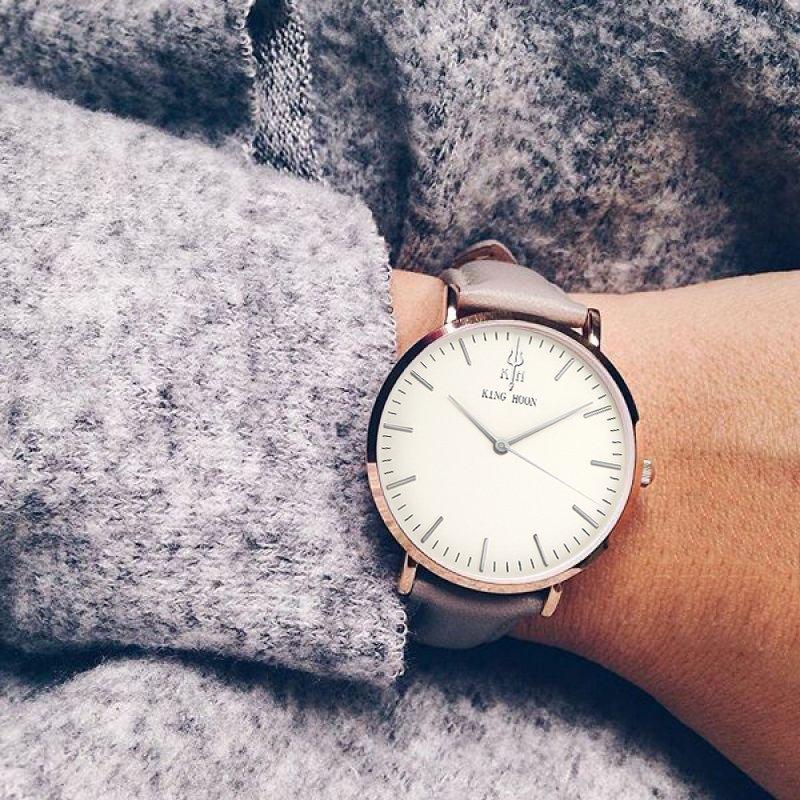Zegarek King Hoon Star szary złoty biały 18