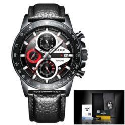 Zegarek Lige Revision czarny czerwony skórzany
