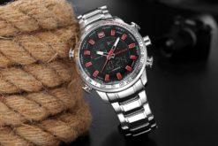 Zegarek Naviforce Rigor srebrny czerwony 3