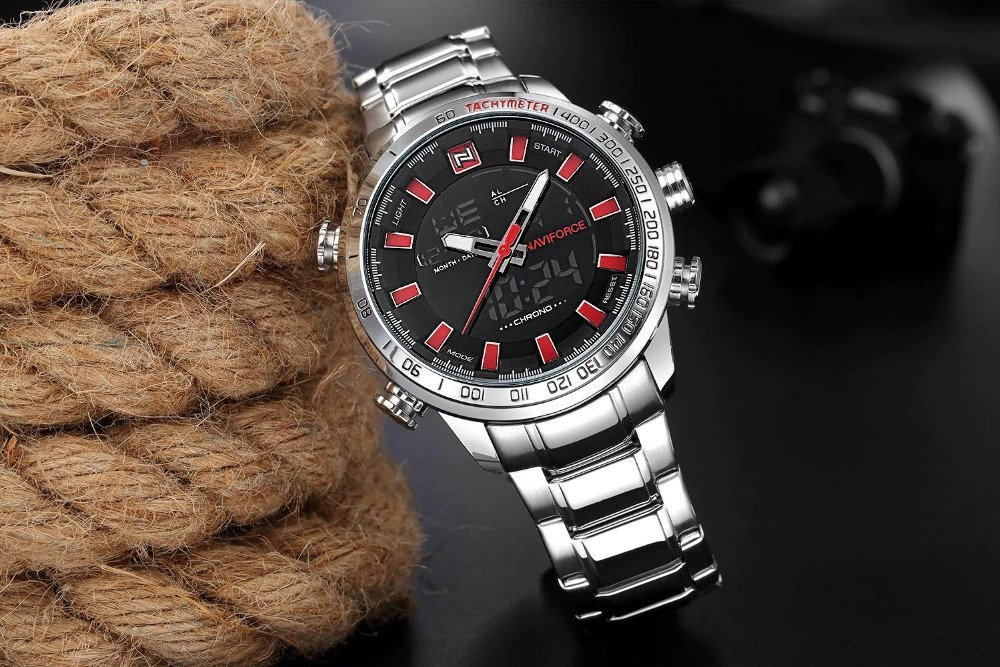 Zegarek Naviforce Rigor srebrny czerwony 5