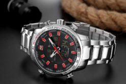 Zegarek Naviforce Rigor srebrny czerwony 2