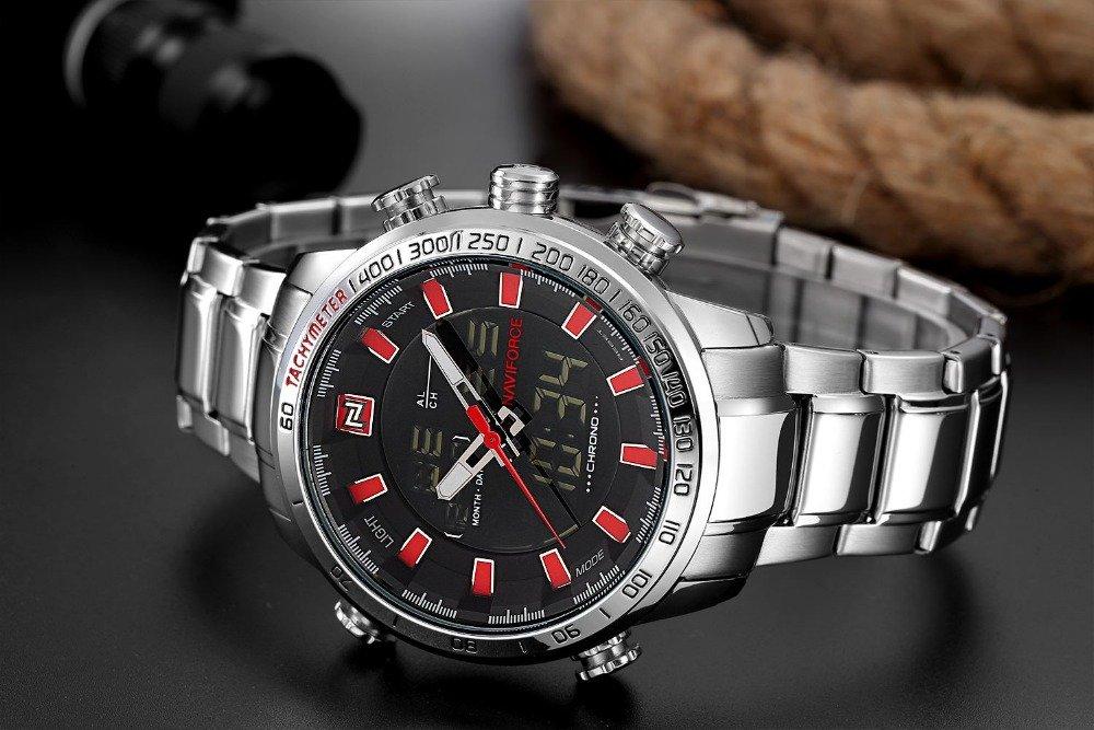 Zegarek Naviforce Rigor srebrny czerwony 7
