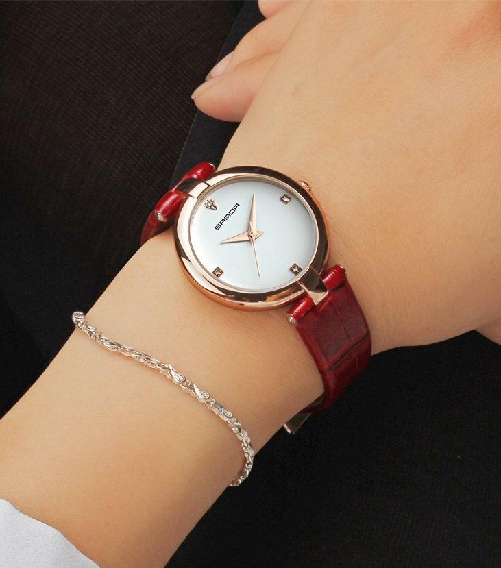 Zegarek Sanda Diamond czerwony biały 4