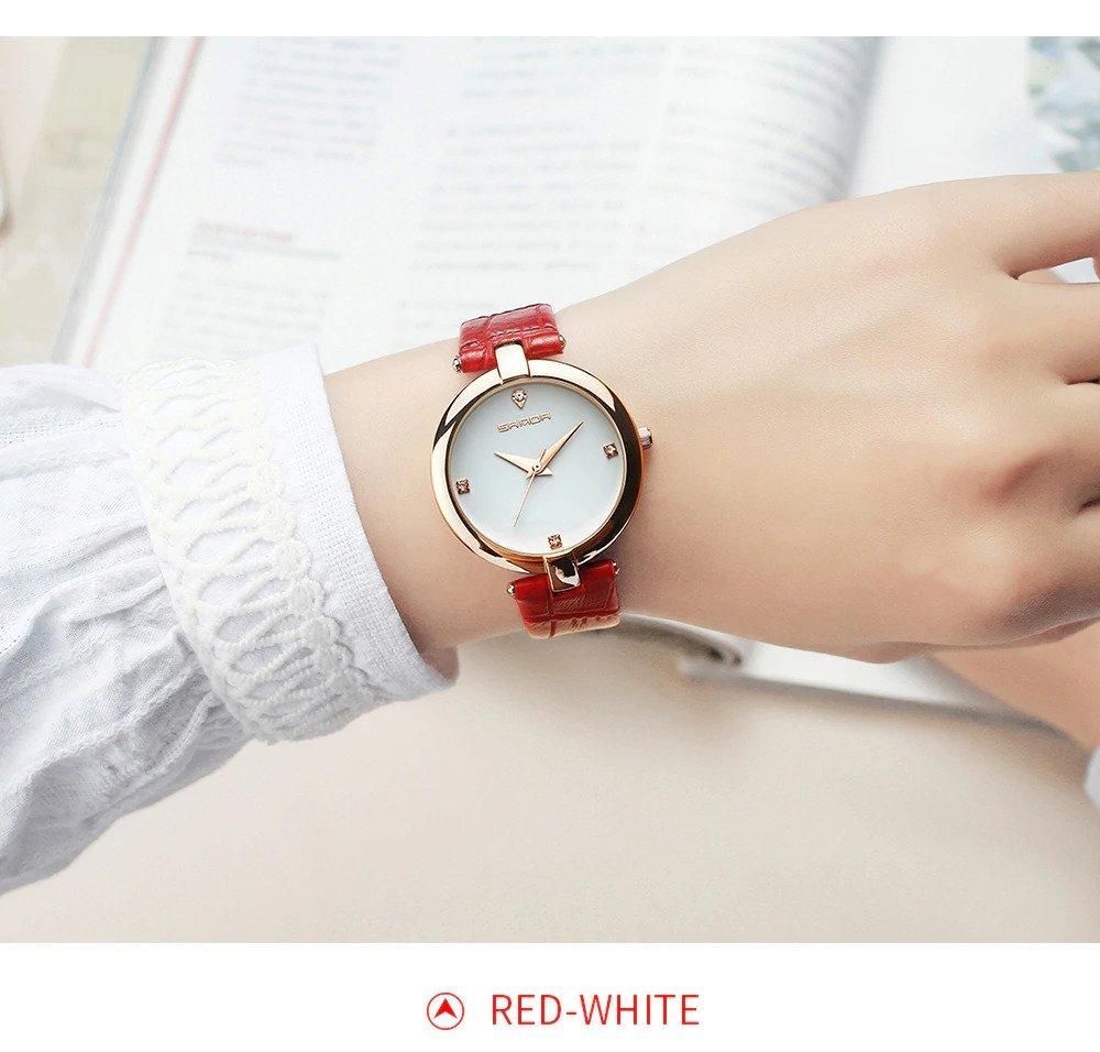 Zegarek Sanda Diamond czerwony biały 5