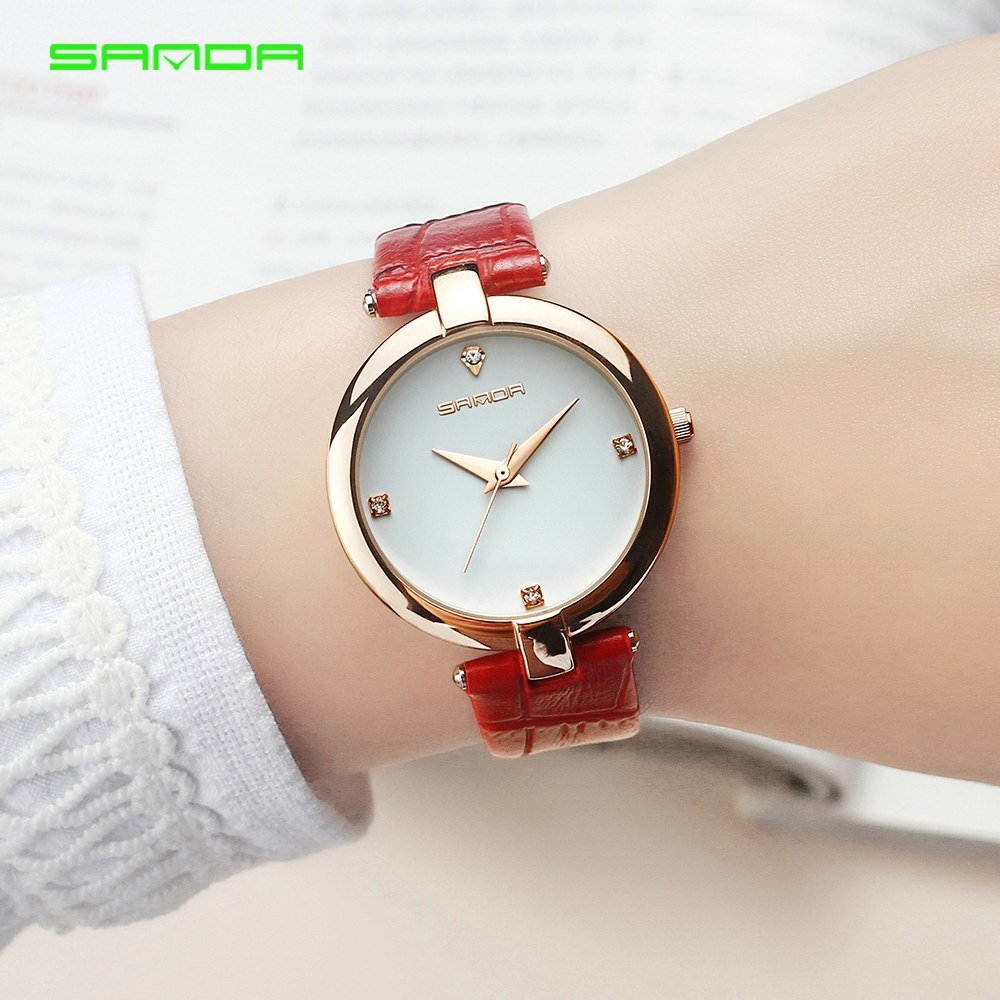 Zegarek Sanda Diamond czerwony biały 6