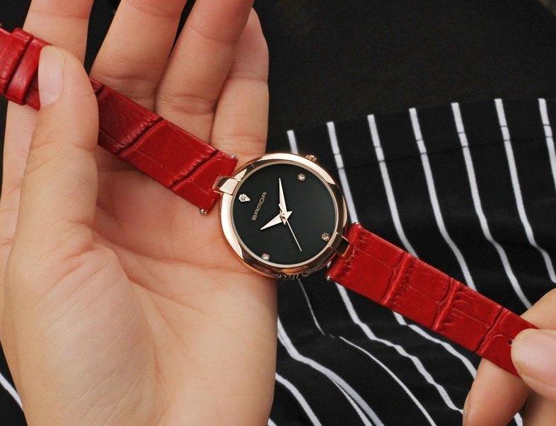 Zegarek Sanda Diamond czerwony czarny 12
