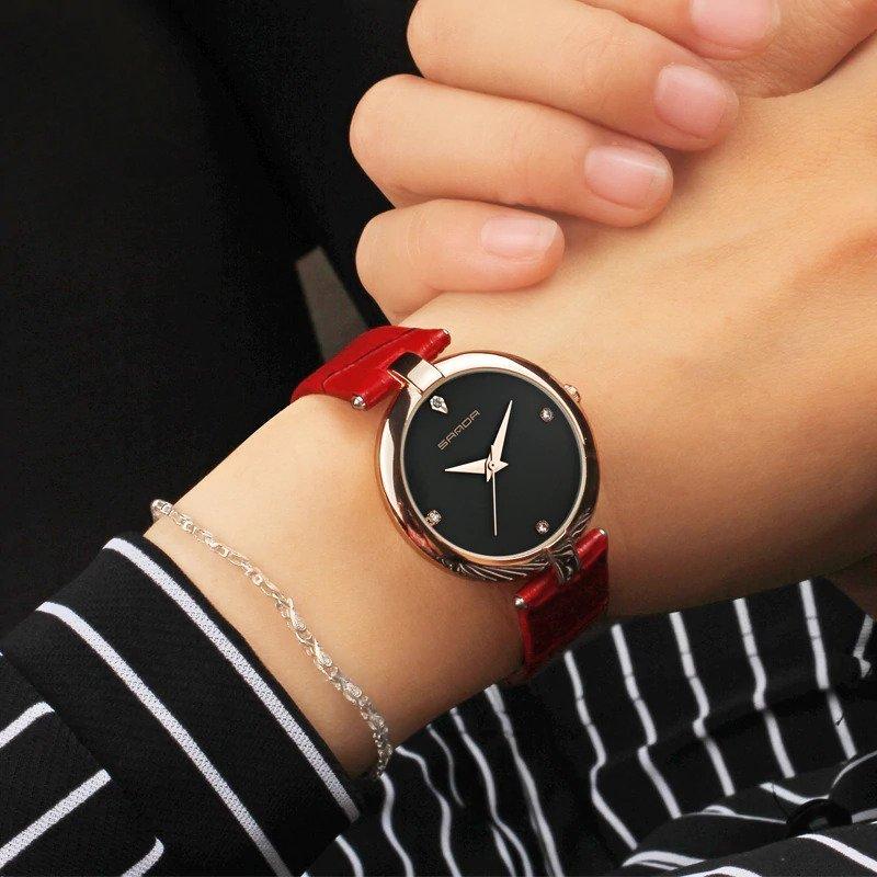 Zegarek Sanda Diamond czerwony czarny 13