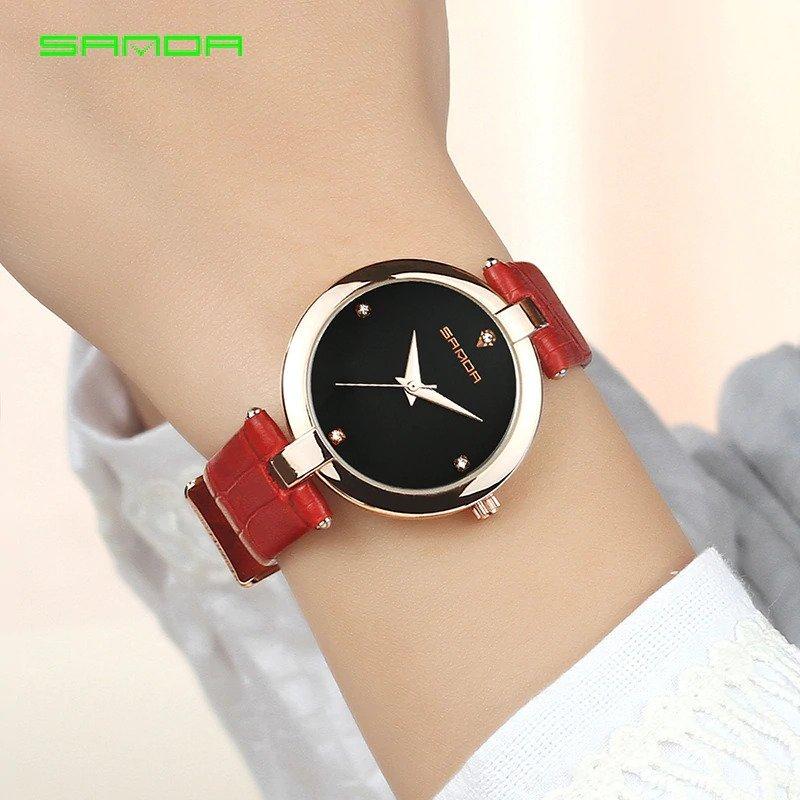 Zegarek Sanda Diamond czerwony czarny 14