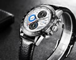 Zegarek Lige Revision czarny niebieski skórzany