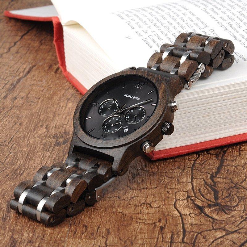 Drewniany zegarek Bobo Bird Lux Dark P19-1