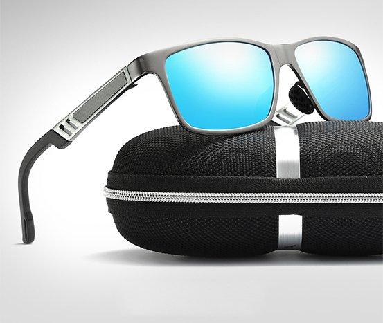 Okulary przeciwsłoneczne aluminiowe M01- niebieskie 6