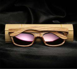 Drewniane okulary przeciwsłoneczne B05- fioletowe - zebrano 3