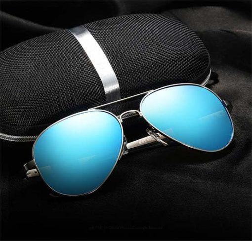 Okulary przeciwsłoneczne aluminiowe jasno niebieskie z pudełkiem