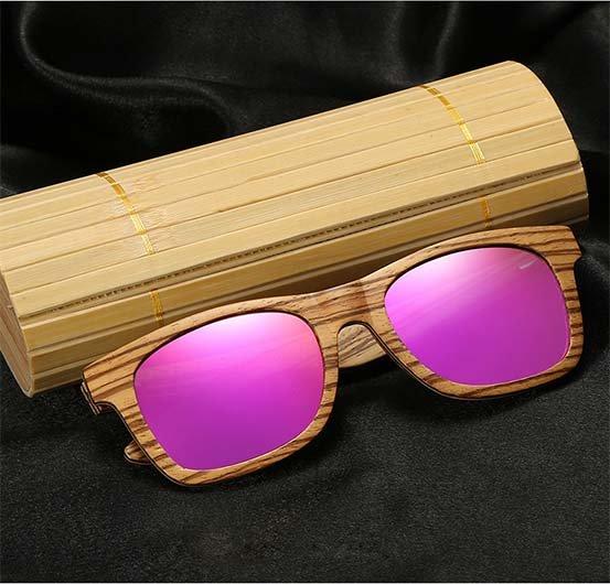 Drewniane okulary przeciwsłoneczne B05- fioletowe - zebrano 10