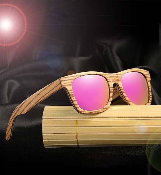 Drewniane okulary przeciwsłoneczne B05- fioletowe - zebrano 9