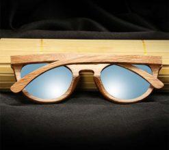 Drewniane okulary przeciwsłoneczne B08- niebieskie - dąb 2
