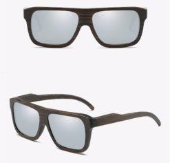 Drewniane okulary przeciwsłoneczne B04- srebrne – bambus