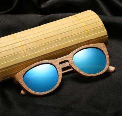 Drewniane okulary przeciwsłoneczne B08- niebieskie - dąb 3
