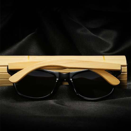 Drewniane okulary przeciwsłoneczne C02- czarne - bambus 14