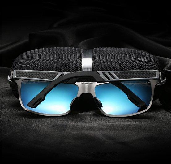 Okulary przeciwsłoneczne aluminiowe M01- niebieskie 7