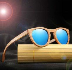 Drewniane okulary przeciwsłoneczne B08- niebieskie - dąb 4