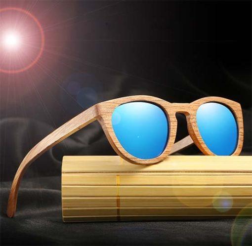 Drewniane okulary przeciwsłoneczne B08- niebieskie – dąb