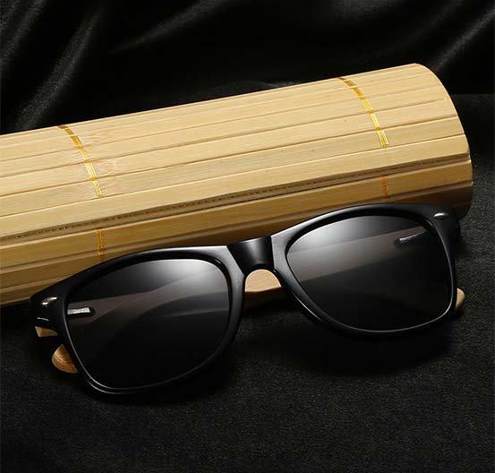 Drewniane okulary przeciwsłoneczne C02- czarne - bambus 13