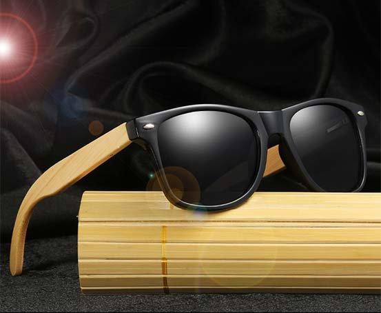 Drewniane okulary przeciwsłoneczne C02- czarne - bambus 12