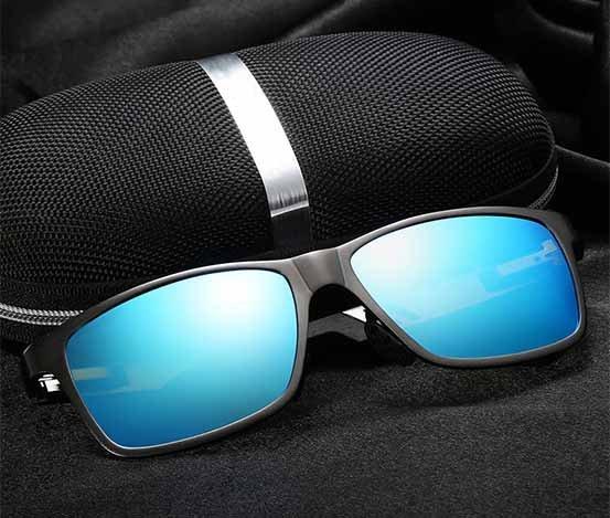 Okulary przeciwsłoneczne aluminiowe M01- niebieskie 8