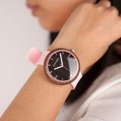 Zegarek drewniany Bobo Bird Round R28-3 Różowy