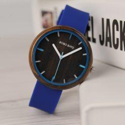 Zegarek drewniany Bobo Bird Round R28-1 Niebieski