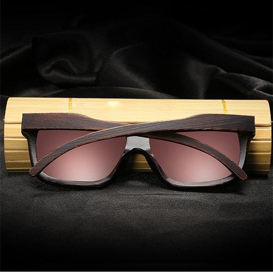 Drewniane okulary przeciwsłoneczne B04- pomarańczowe - bambus 11
