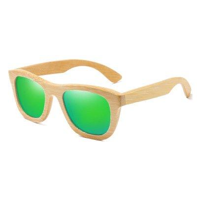 Drewniane okulary przeciwsłoneczne B06- zielone – bambus