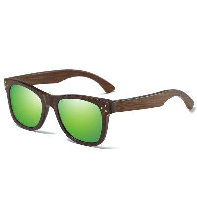 Drewniane okulary przeciwsłoneczne B01- zielone – bambus