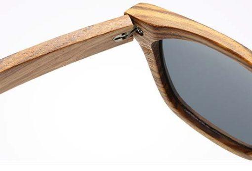 okulary z drewna zebrano detal 2