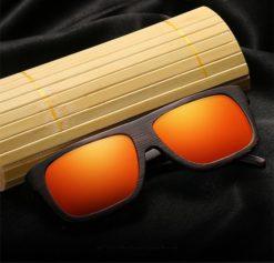 Drewniane okulary przeciwsłoneczne B04- pomarańczowe - bambus 3