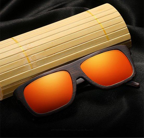 Drewniane okulary przeciwsłoneczne B04- pomarańczowe - bambus 10