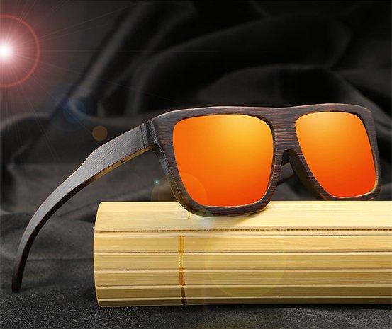 Drewniane okulary przeciwsłoneczne B04- pomarańczowe - bambus 9