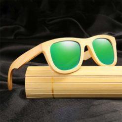 Drewniane okulary przeciwsłoneczne B06- zielone - bambus 2