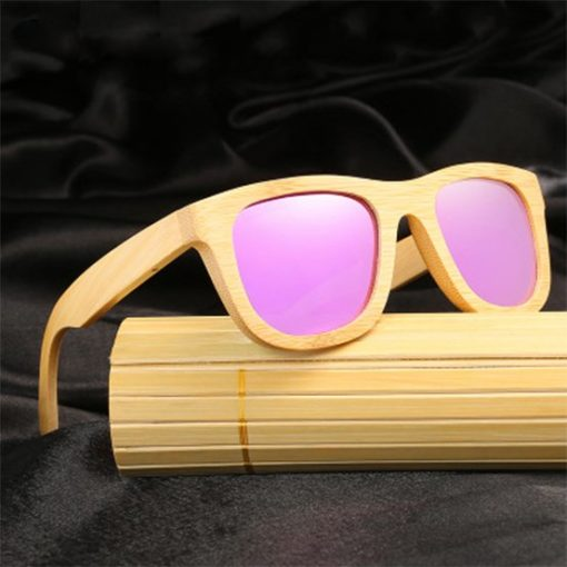 Drewniane okulary przeciwsłoneczne B06- fioletowe – bambus