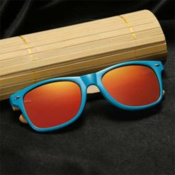 Drewniane okulary przeciwsłoneczne C01- pomarańczowe - bambus 2