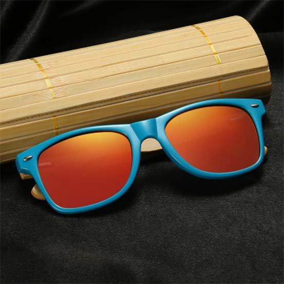 Drewniane okulary przeciwsłoneczne C01- pomarańczowe - bambus 8