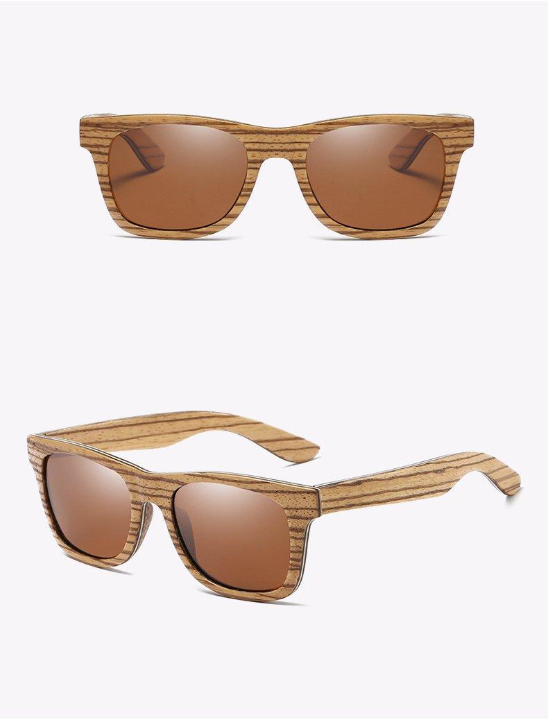 Drewniane okulary przeciwsłoneczne B05- brązowe - zebrano 6