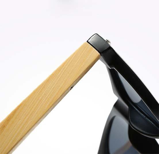 Drewniane okulary przeciwsłoneczne C02- czarne - bambus 10