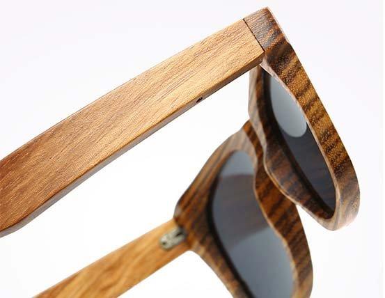okulary z drewna zebrano detal 3