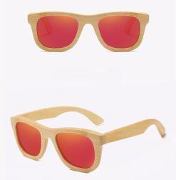 Drewniane okulary przeciwsłoneczne B06- czerwone – bambus