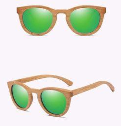 Drewniane okulary przeciwsłoneczne B08- zielone – dąb