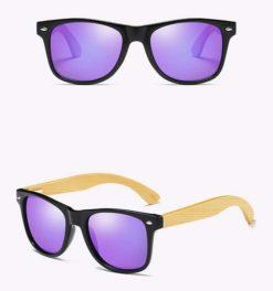 Drewniane okulary przeciwsłoneczne C02- fioletowe – bambus
